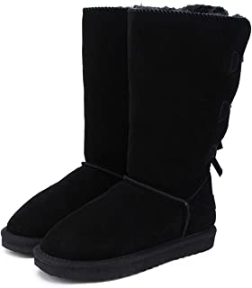2018 Fashion Women Long Boots Genuine Cow Leather Snow Boots Warm High Winter Boots,Black,13