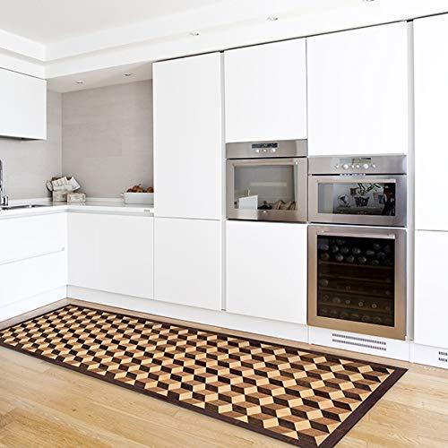 CREARREDA Tappeto cucina Geometric Parquet 50x240 passatoia cucina antiscivolo, lavabile, ignifugo e antigraffio 100% Made in Italy