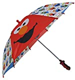 Sesame Street Elmo and Cookie Monster Umbrella for Kids Officially Licensed Sesame Street Product Closed Umbrella - 20.75'' (L) x 1.75'' (W). Open Umbrella - 24.5'' (L). Handle - 3.75'' (L) x 2'' (W) Made of 100% polyester; Features Plastic Safety Ca...
