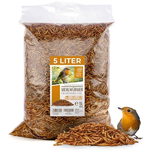 Wildtier Herz I Edel Mehlwürmer getrocknet 5 Liter I Getrocknete Mehlwürmer für Vögel und Igel I 800g Mehlwürmer getrocknet, Vogelfutter