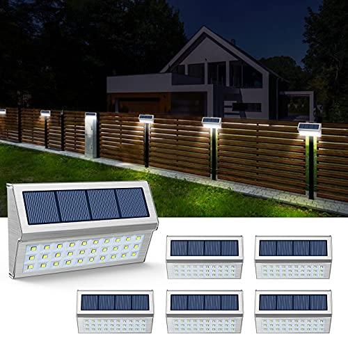 JSOT Solarlampen für Außen, 6 Stück Edelstahl Wandleuchte 30LED Weißes Licht Dekorative Lichter für Garten Zaun Terrassen Weg