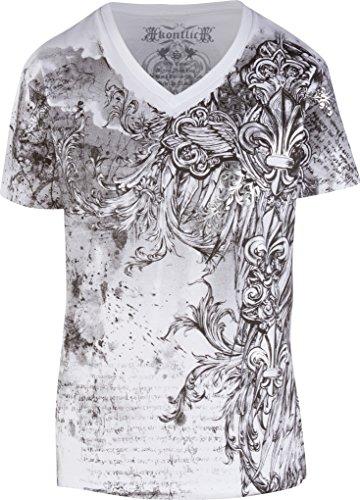 Sakkas 327V Vines et Fleur De Lis métallisé Argent T-Shirt à col V en Relief pour Hommes - Blanc/X-Large