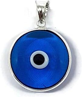Mystic Jewels By Dalia Pendentif en Argent Sterling 925 avec /œil en Cristal pour Bonne Chance Diam/ètre de la breloque 15 mm