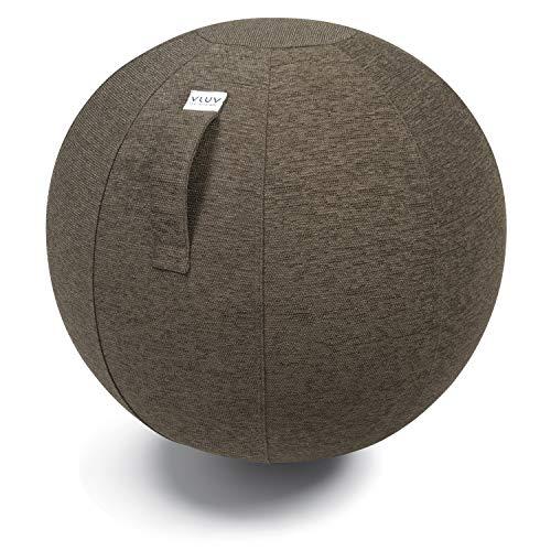VLUV STOV Stoff-Sitzball, ergonomisches Sitzmöbel für Büro und Zuhause, Farbe: Greige (grau), Ø 60cm - 65cm, hochwertiger Möbelbezugsstoff, robust und formstabil, mit Tragegriff