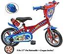 Bicicleta de Bicicleta de 12 Pulgadas, con 2 Frenos PB+BIDON AR + Casco Infantil, Multicolor
