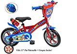 Vélo Velo 12'' Garcon Pat Patrouille 2 Freins PB+BIDON AR + Casque Enfants,...