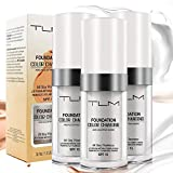 3 Pcs Flawless Colour Changing Foundation Foundation Cream Makeup Base, Fragrance-Free, Warm Skin Tone, Nude Face Moisturizing Liquid Cover Concealer All-Day Long-Lasting, with SPF 15 (30ml)
