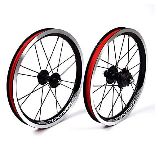 14 Pollici Set di Ruote per Bicicletta Cerchi in Lega per Piegato Bicicletta BMX V-Freno Denti in Acciaio 9T velocità Singola 20H Ruota Posteriore 16H Ruota Anteriore (Color : Black)