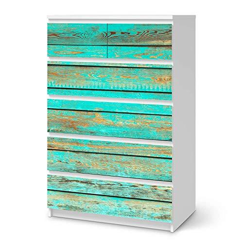 creatisto Möbel-Folie passend für IKEA Malm Kommode 6 Schubladen (hoch) I Möbeldekoration - Möbel-Sticker Aufkleber Folie I Deko Wohnung für Wohnzimmer, Schlafzimmer - Design: Wooden Aqua
