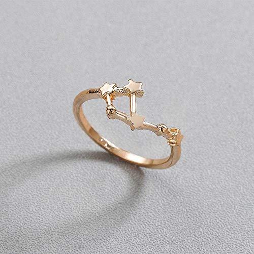DDDDMMMY Rings for Women,Taurus Mode 12 Sternbild Sternzeichen Todorova Kreative Star Ring Waage Zwillinge Stier Krebs Widder Ringe Für Frauen Schmuck Geschenk