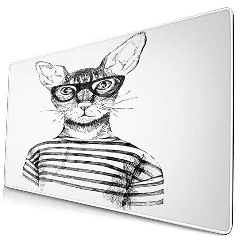TARTINY Alfombrilla de ratón Dibujado a Mano Disfrazado Hipster New Age Cat Fashion Urban Free Spirit Obra de Arte 400x900 mm Alfombrillas de Escritorio Profesionales Base Extra Grande para Juegos