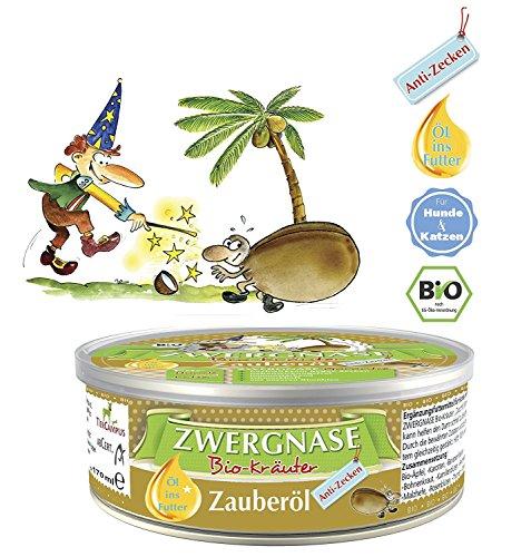"""ZWERGNASE \""""Zauberöl Anti-Zecke\"""" - 280 ml - Kokosöl mit Bio-Kräutern - schützt Hunde u. Katzen gegen Zecken, Moskitos, Milben und Bremsen - natürlicher Zeckenschutz & Zeckenabwehr (1 x 280 ml)"""