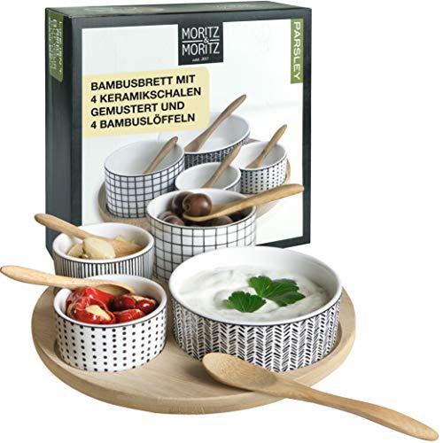 Moritz & Moritz 9 tlg Servier Set Parsley – Für Tapas Snacks Vorspeisen Dips – Keramik Schalen – Serviertablett Löffel Bambus