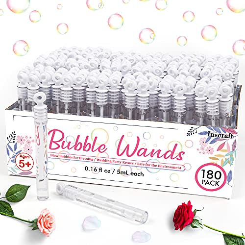 180PackBubble Wands Bulk,Party Favors for Weddings, Valentine's Day, Anniversaries, Celebrations,Graduation, Birthday, Summer Toys Gift for Kids Toddler Adults by Inscraft