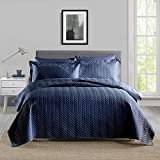 Boryard 3-Piece Queen Quilt Bedding Set, Lightweight Soft Full Size Quilt Bedspread Coverlet (90x90 inches) with 2 Pillow Shams (20x26 inches) for All Season, Navy Blue