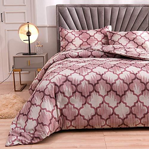HJSM - Juego de cama geométrico de microfibra con cierre de cremallera, funda de edredón y 2 fundas de almohada (rosa, 200 x 200 cm)