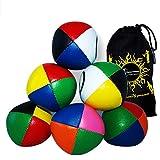 Flames 'N Games Juego de 3 Bolas de Malabares de Cuero de 4 Colores + Bolsa - ¡Pelotas de Malabares Profesionales para Todas Las Habilidades! (Blanco / Amarillo / Negro / Verde)