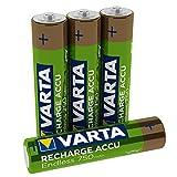 Varta Endless Energy - Pack de 4 Pilas AAA Recargables (NiMH, 2100 ciclos, 750 mAh, precargadas)