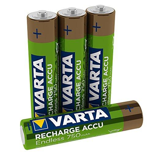 VARTA Recharge Accu Endless Energy AAA Micro Ni-Mh Akku 4er Pack 750 mAh - bis zu 2100 Ladezyklen, geringe Selbstentladung, vorgeladen und Ready2Use - wiederaufladbar ohne Memory Effekt
