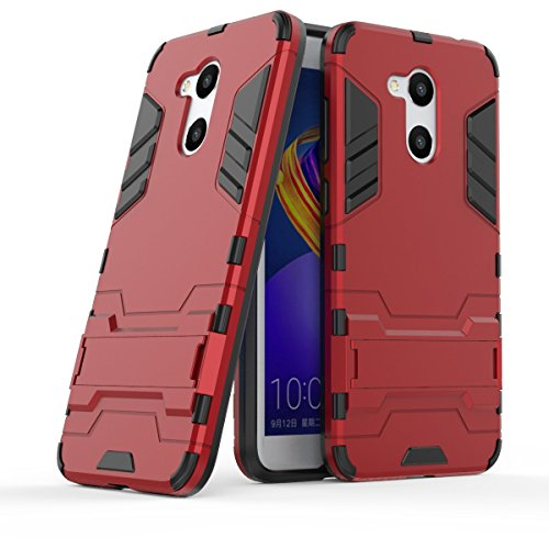 Huawei Honor 6C Pro Hülle, Huawei Honor V9 Play Hülle, MHHQ Hybrid 2in1 TPU+PC Schutzhülle Rugged Armor Hülle Cover Dual Layer Bumper Backcover mit Ständer für Huawei Honor 6C Pro/Honor V9 Play -Red