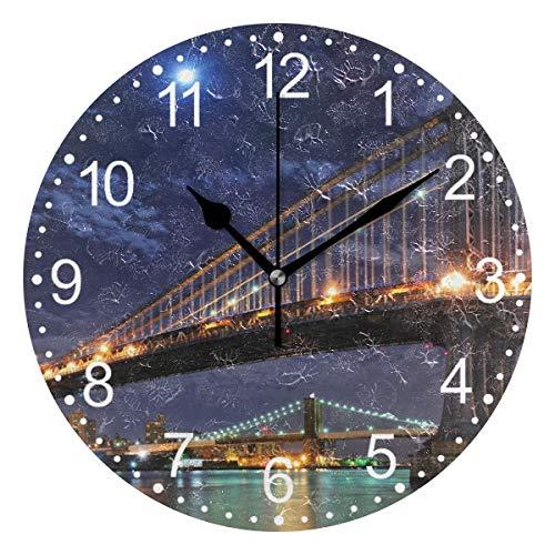 FELIZM - Reloj de pared silencioso con puente de Brooklyn