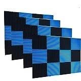 Paquete de 48 paneles de pared de espuma acústica para estudio de espuma de absorción de sonido, color negro, azul, 2,54 x 30,48 x 30,48 cm