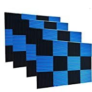 "48 Pack Black blue 1"" x 12"" x 12"" Acoustic Wedge Studio Foam Sound Absorption Wall Panels"