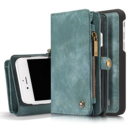 """ICE FROG iPhone 7/8 Plus 5.5"""" Wallet Case, Premium Folio Zipper Purse Leather Detachable Magnetic Case with Flip Credit Card Slots Stand Holder Cover for iPhone 7/8 Plus 5.5 inch - Blue"""