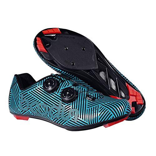 Zapatillas de Bicicleta Montaña Calzado Bicicleta Zapatos de Bicicleta Antideslizantes Transpirables para Hombres para Ciclismo Carretera de montaña 2 Colores,Blue,43