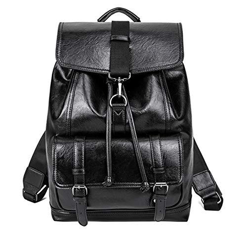 Vohoney Rucksack Casual PU Leder Laptop-Rucksäcke Schulrucksack Büchertasche Tagesrucksack Herren Damen Backpack Daypack Freizeitrucksack Schultasche (Laptop Rucksäcke Schwarz)