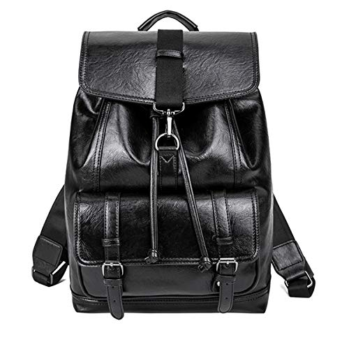 Rucksack Casual PU Leder Laptop-Rucksäcke Schulrucksack Büchertasche Tagesrucksack Herren Damen Backpack Daypack Freizeitrucksack Schultasche (Laptop Rucksäcke Schwarz)