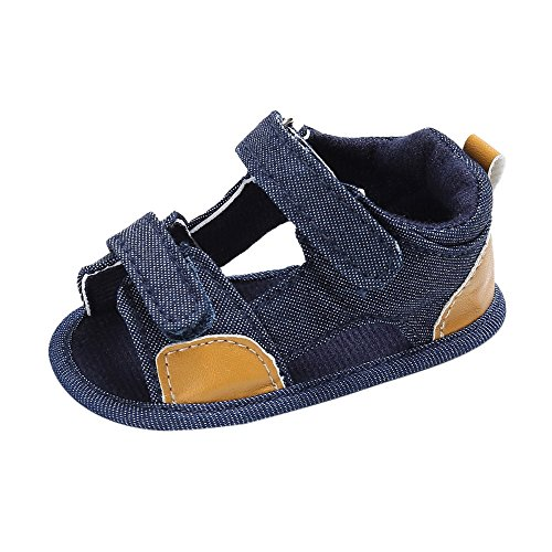 Infant Baby Boys Girls Summer Sandals Walking Shoes 6-18 Months Toddler Soft Sole First Walkers Crib Shoes (6-12 Months, Blue)