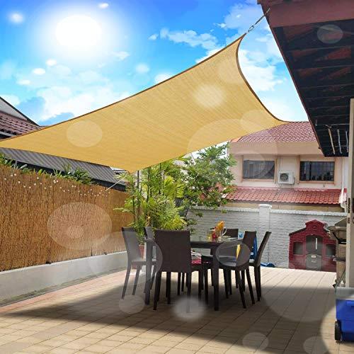 Fly Hawk - Toldo triangular para toldo de patio, tela duradera para exteriores, jardín, patio, estanque, pérgola, caja de arena, patio, color arena, 10' x 12' Rectangle