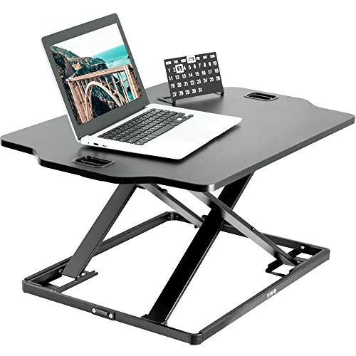 VIVO Black Single Top Height Adjustable 27 inch Standing Desk Converter, Sit Stand Tabletop Monitor Laptop Riser Workstation, DESK-V000HB
