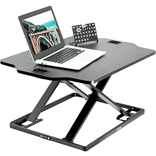 VIVO Black Single Top Height Adjustable 27 inch Standing Desk Converter, Sit Stand Tabletop Monitor Laptop Riser Workstation, DESK-V000HB