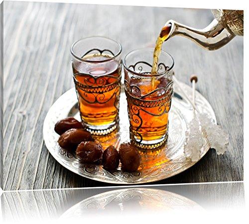 Pixxprint Arabischer Tee, Format: 80x60 auf Leinwand, XXL riesige Bilder fertig gerahmt mit Keilrahmen, Kunstdruck auf Wandbild mit Rahmen, günstiger als Gemälde oder Ölbild, kein Poster oder Plakat