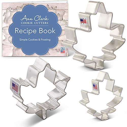Ann Clark Cookie Cutters 3-Piece Maple Leaf Cookie Cutter Set with Recipe Booklet, 2.25' 3.25' and 4' Maple Leaves