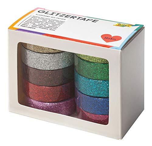 folia 28509 - Glitzer Tape, Klebeband aus Papier mit Glitter, 10 Rollen farbig sortiert, je Rolle ca. 5 m x 15 mm - ideal zum Verzieren und Dekorieren