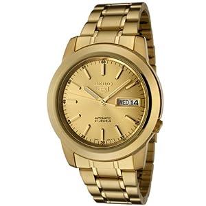 Seiko Men's SNKE56 Seiko 5 Automatic Gold Dial Gold-Tone Stainless Steel Watch