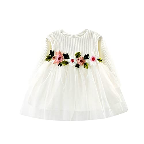 Toddler Baby Girls Princess Mini Dresses Flower Tutu Long Sleeve Party Dress Clothing Gown Birthday Swing Dancing Dresses for 6-24 Months Baby