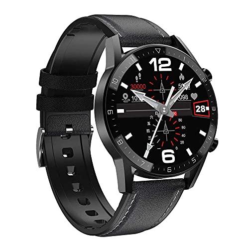 HUYAYUN Reloj Inteligente, Pantalla a Color de Vista Completa IPS de 1.3 Pulgadas, podómetro Deportivo de Negocios con Llamadas Bluetooth, Pulsera Impermeable multideportiva con...
