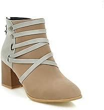 GanQuan2018 Platform Winter Black High Heel Snow Boots Heels Chunky Heel Ankle Boots for Women