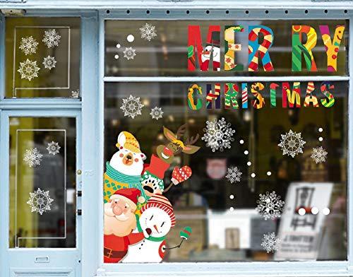 Yuson Girl Christmas Window Stickers Muñeco de Nieve Papá