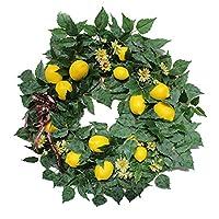 人工レモンと緑の葉、前のドアの壁のウェディングの家の装飾のためのドアの花輪と22インチの春のフルーツの花輪