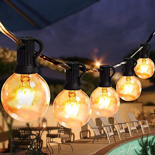 Lichterkette Außen Lichterkette Glühbirnen Aussen Innen Warmweiß Weihnachten 9.5M G40 (25 Birnen mit 3 Ersatzbirnen) für Garten Terrass Weihnachten Hochzeit Balkon Pavillon Party