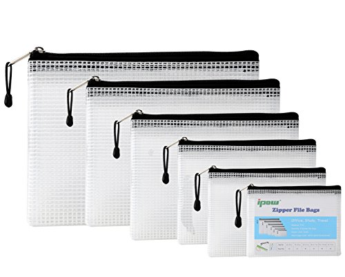 Ipow Mesh File Zip Lock Bags Folder Wallets, Reinforced Zipper with Threads Travel Pouch for Organize Supplies, Document, Medication, Cosmetics, Travel Accessories (6 Pcs, 6 Sizes)