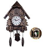 Mtye Reloj de Pared Cuckoo/Despertador/Columpio/Dormitorio para niños Reloj de Punto Completo/decoración de hogar de Madera única imitación Madera