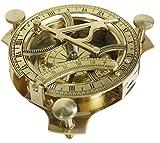 Sonnenuhr-Kompass mit Sonnen-Zifferblatt aus massivem Messing, 10,2cm