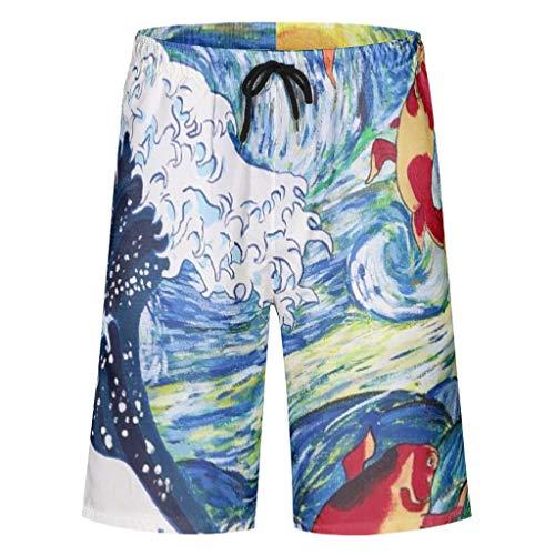 Kikomia – Bañador para hombre, estilo japonés, gran ola antes de Kanagawa, oro, pez, luna estrellas, noche Ukiyoe, tradicional, estampado retro, tabla de playa, con bolsillos, forro de malla, Hombre, blanco, small