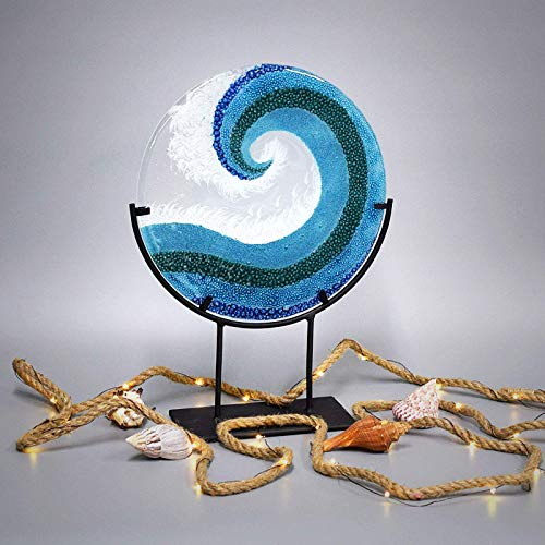 Glass Art Crashing Ocean Wave Panel with Stand 16 1/4 Inches Tall